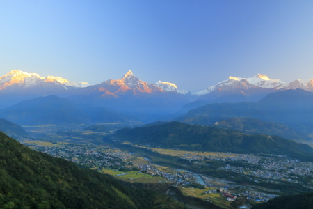 Morning view, Sunrise at Annapurna mountain range from Pokhara in Nepal