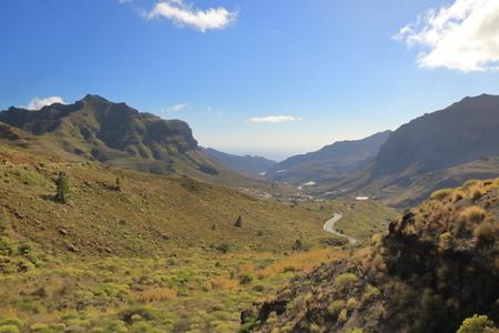 Gran Canaria, view down the valley La Aldea de San Nicolas in the far distance