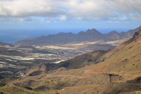 Gran Canaria, view down the valley La Aldea de San Nicolas in the far distance Stock fotó