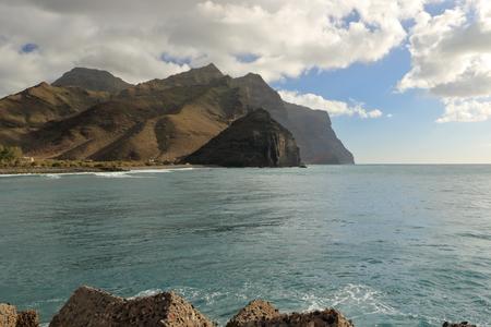View of the port and beach puerto de la aldea of the Village of San Nicolas in Gran Canaria in Spain