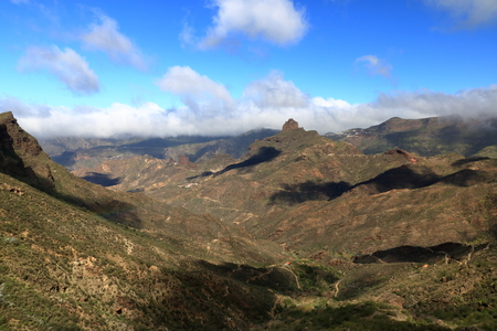 Landscape of Canary Islands, mountains and Roque Bentayga, Spain Imagens
