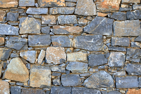 Big gray wall made from stone bricks Stock Photo - 124813414