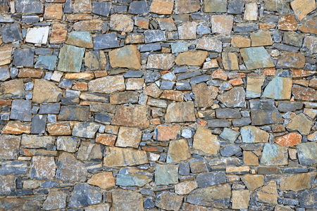 Big gray wall made from stone bricks Stock Photo - 124813462
