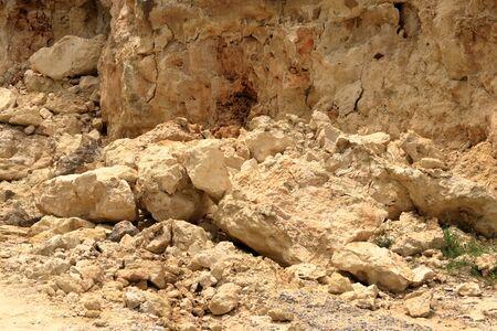 Danger falling rocks in Crete in Greece, Europe