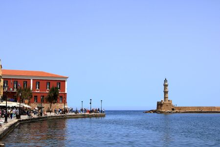 famouse venetian harbour waterfront of Chania old town, Crete in Greece