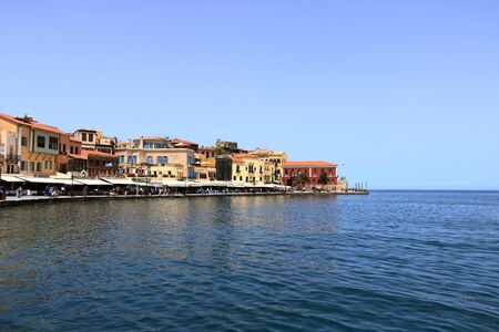famouse venetian harbour waterfront of Chania old town, Crete in Greece 免版税图像