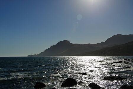 Sunset on sea in Plakias, Crete in Greece 免版税图像