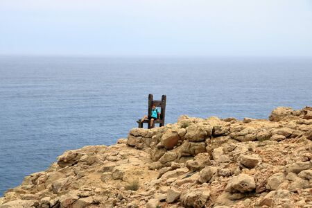 Chair on the beach of Tripiti in Gavdos island on Aug. 8, 2016. Tripiti is the southernmost point of Europe. Stockfoto