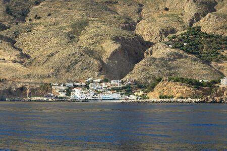 The small traditional village of Chora Sfakion, Sfakia, Chania, Crete in Greece.