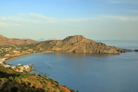 Crete island, beautiful beach and fishing village Plakias. Greece