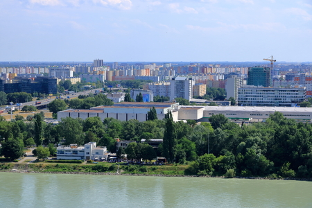 Bratislava, Slovakia, July 18 2019: Top View to blocks of flats in Bratislava, Publikacyjne