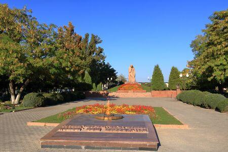 Eternal flame, Monument Bratskiye Mogily in Tashkent in Uzbekistan