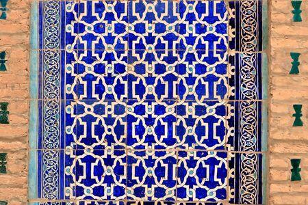 Hermosos patrones islámicos en Uzbekistán, fondo geométrico Foto de archivo