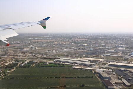 City aerial View from airplaine of Bukhara in Uzbekistan 스톡 콘텐츠