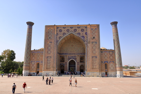 Samarkand, Uzbekistan - October 26 2019: The Registan, the heart of the ancient city of Samarkand - Uzbekistan Editorial