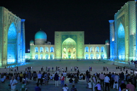 September 26 2019 - Samarkand, Uzbekistan: Beautiful Historic Registan Square at dusk. Ulugh Beg, Tilya-Kori and Sher-Dor madrasah at night