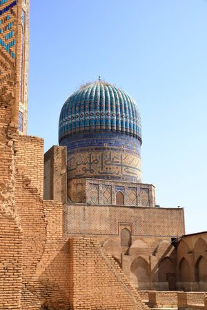 September 26 2019 - Samarkand, Uzbekistan: Remains of the Bibi Khanum Mosque and its blue dome