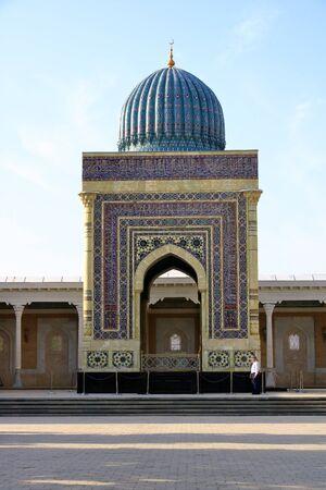 September 28 2019 - Samarkand, Uzbekistan: Turquoise dome,the portal,the mausoleum of Imam al Bukhari