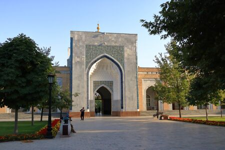 September 28 2019 - Samarkand, Uzbekistan: Turquoise dome,the portal,the mausoleum of Imam al Bukhari