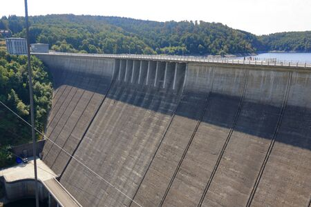 August 07 2018 - Stolberg, Germany: Rappbode dam and reservoir in Germany