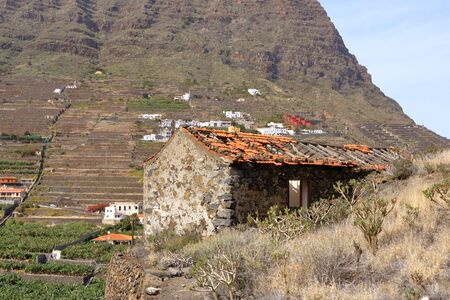 lodge or small house abandoned and falling down in La Gomera in Spain