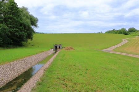 View of a small water reservoir Kauscha near Dresden