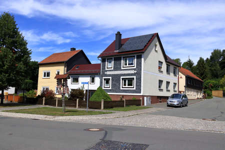 typical slated facades of old houses in thuringia/Germany