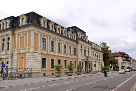 August 06 2019 - Meiningen, Thüringen, Germany: Historic Old Town Architectur Editorial