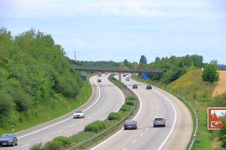 June 28 2020 Dresden, Germany: German highway A17 from Dresden to Prague