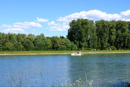 a small pleasure boat on the rhine river