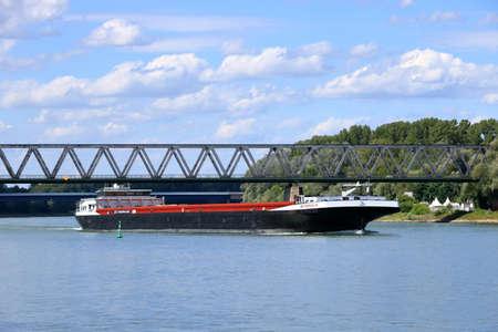 Inland shipping transport on rhine river near germersheim