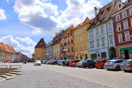 July 14 2020 Cheb / Eger in Czech Republic: Group of medieval houses on main market square with Half-timbered houses