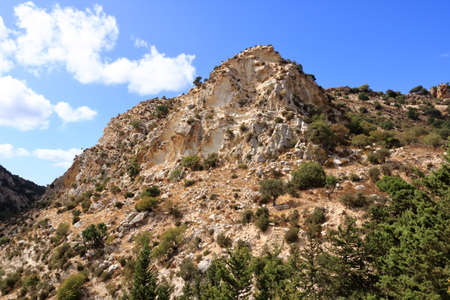 view on the Avakas Gorge with steep rocks and river on bottom. Akamas peninsula, Cyprus.