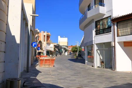 October 2 2020 - Paphos, Cyprus: Shopping street in central touristic district of Paphos, calm life because of the corona pandemic