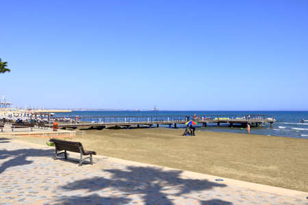 September 30, 2020 - LARNACA, CYPRUS: sunny day on Finikoudes promenade, calm life because of the corona pandemic Stok Fotoğraf