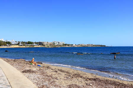October 2 2020 - Paphos, Cyprus: Tourist area and beach in the Cyprus city Paphos