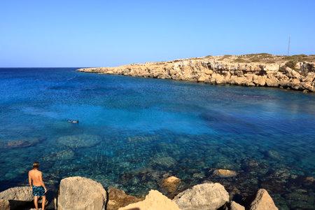 Cape Greco and the blue lagoon near agia napa in Cyprus Banco de Imagens