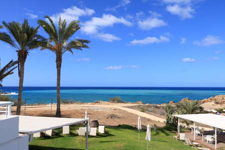 Sea and beach view from hotel area on Cyprus