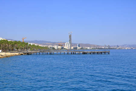 Limassol City view from the coast with the architectural modern buildings
