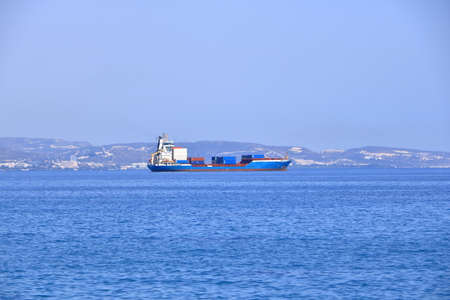 October 06 2020 - Limassol, Cyprus: Large container ships waiting in front of port