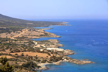 View from above to Cyprus island sea coast with blue lagoon. Akamas cape landscape