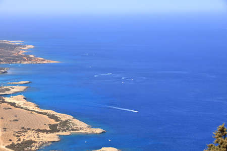 View from above to Cyprus island sea coast with lagoon. Akamas cape landscape