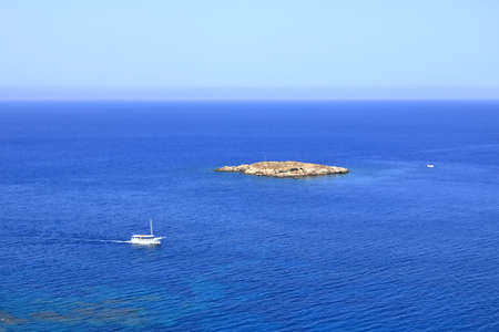 Cyprus tourist attractions, Mediterranean Sea coast 免版税图像