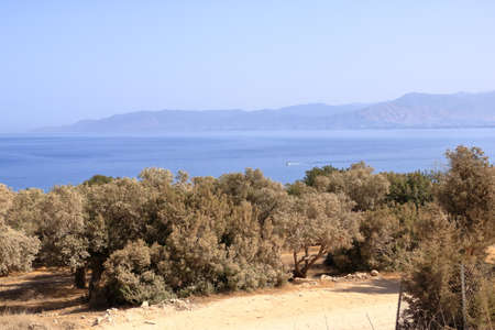 Looking across a campsite towards Latchi and Polis and the Troodos Mountains, Akamas Peninsula in Cyprus.