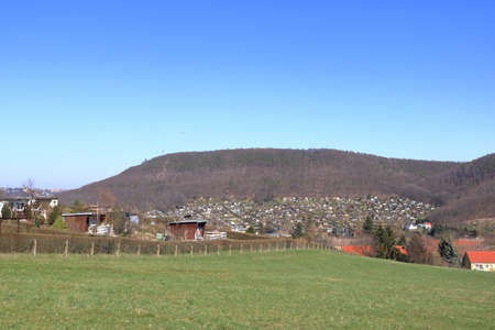 view over small gardens, allotment club in freital near dresden 免版税图像