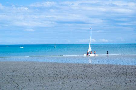preparing a catamaran for a ride at sea Stock Photo - 1545329
