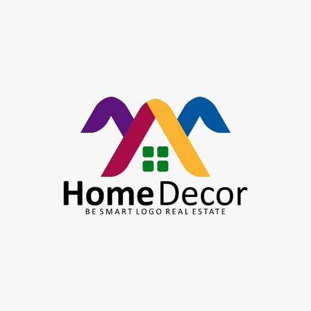 real estate: HOME DECOR HOUSE REAL ESTATE ICON LOGO Illustration
