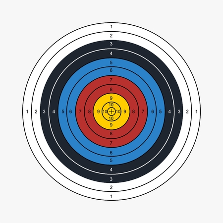 Archery target printable vector illustration Vectores