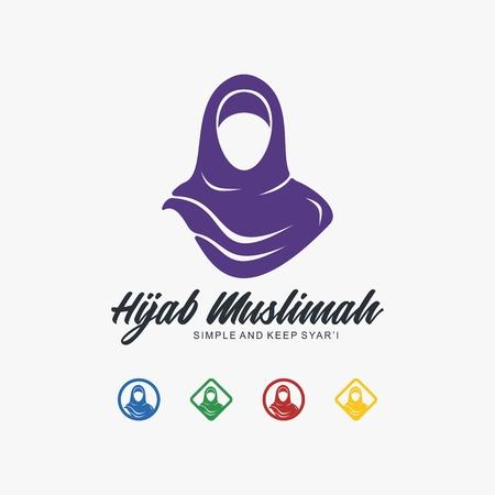 Hijab muslimah logo template Vector illustration. Illustration