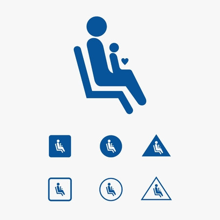 Priority seat icon illustration for parent and children.